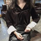 Long-sleeve V-neck Velvet Blouse