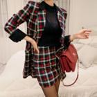 Set: Double-buttoned Plaid Blazer + Pencil Skirt