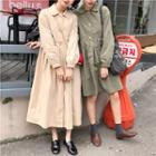 Collared Button Trench Coat/ Long Trench Coat