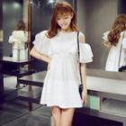 Cutaway-shoulder Ruffled A-line Dress