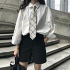 Pocketed Plain Shirt White - One Size