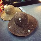 Faux Pearl Flower Accent Straw Hat