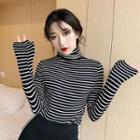 Turtleneck Long-sleeve Striped Top