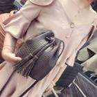 Faux Croc Grain Leather Bucket Bag