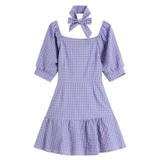 Set: Short-sleeve Plaid Mini Dress + Bow Tie