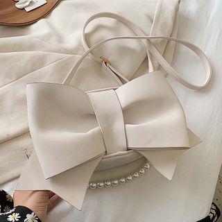 Faux Pearl Strap Bow Crossbody Bag