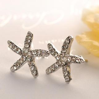 Starfish Earrings  Silver - One Size