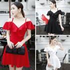 Plain Frill Trim Off Shoulder Short Sleeve A-line Dress