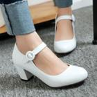 Chunky-heel Strapped Pumps