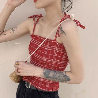 Shoulder-tie Plaid Smocked Top Plaid - Red - One Size