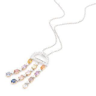 18k White & Rose Gold Pendant With Diamonds And Colorstones