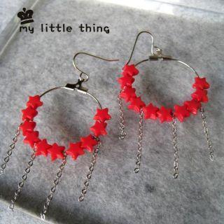 Cute Stars Circle Earrings (red)