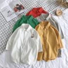 Couple Matching Elbow-sleeve Plain Shirt