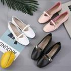 Square-toe Buckled Strap Flats