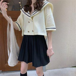 Sailor Collar Double-breasted Short-sleeve Cropped Top Light Yellow - One Size
