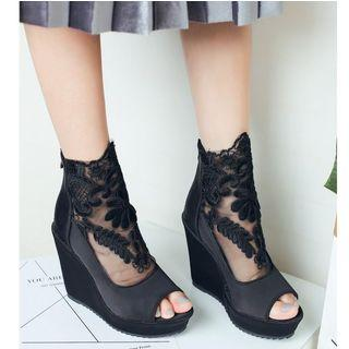 Lace Panel Platform Wedge Sandals