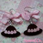 Sweet Pink Ribbon Crystal Strawberry Choco Hat Earrings Silver - One Size