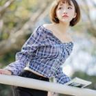 Plaid Off-shoulder Long-sleeve Blouse