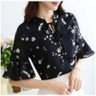 Elbow-sleeve Floral Print V-neck Top