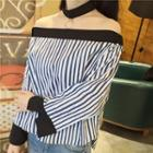 Off-shoulder Panel Sleeve Striped Top