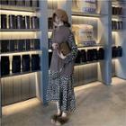Long-sleeve Dotted Midi Dress / Turtleneck Knit Vest