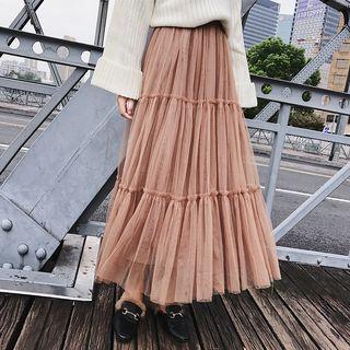Maxi Accordion Pleat Mesh Skirt