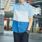 Short Sleeve Color-block Shirt