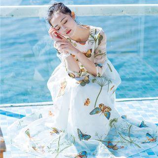 Long-sleeve Embroidered Maxi Mesh Sundress
