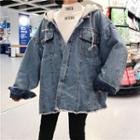 Frayed Hem Hooded Denim Jacket