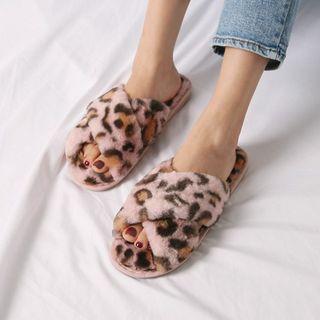 Cross-strap Leopard Faux-fur Slippers
