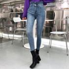 Paperbag-waist Distressed Skinny Jeans