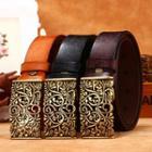 Embossed Flower Genuine Leather Belt