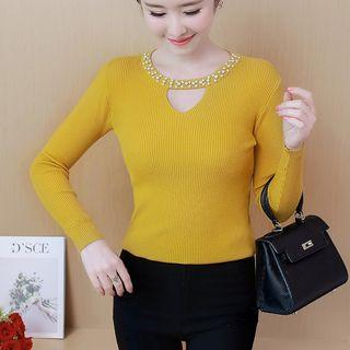 Cutout Long-sleeve Knit Top As Shown In Figure - One Size