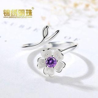 925 Sterling Silver Flower Open Ring As Shown In Figure - One Size