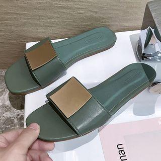 Metal Square Faux Leather Slide Sandals