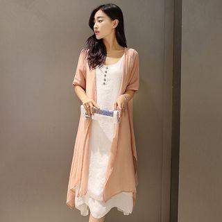 Set: Linen Cotton Short-sleeve Top + Linen Cotton Dress