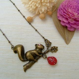 Forest Squirrel Necklace Copper - One Size