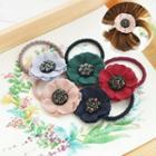 Rhinestone Linen Flower Hair Tie