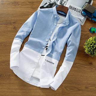 Lettering Color Panel Button-down Shirt