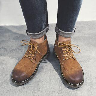 Genuine Leather Stitched Brogue Oxfords