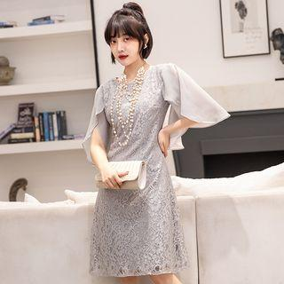 Mesh-sleeve A-line Lace Dress