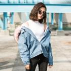 Faux-fur Trim Hooded Denim Jacket