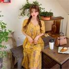 Floral Print Chiffon Dress Yellow - One Size