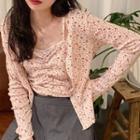 Set: Floral Print Camisole Top + Cardigan