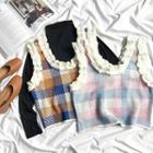 Check Sleeveless Knit Top