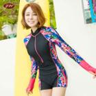 Printed Rashguard Swimsuit
