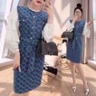 Set: Shirred Blouse + Patterned Pinafore Dress
