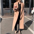 Plain Double-breasted Midi Coat