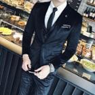 Set: Slim Fit Velvet Blazer + Vest + Pants