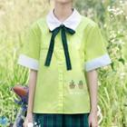 Cactus Print Bow-tie Short-sleeve Shirt